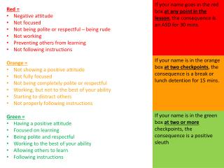 Red =  Negative attitude Not focused Not being polite or respectful – being rude Not working