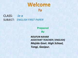 CLASS:       ix-x SUBJECT:    ENGLISH FIRST PAPER