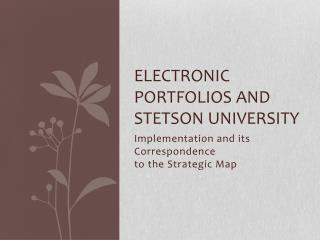 Electronic Portfolios and  Stetson University