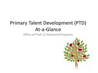 Primary Talent  Development (PTD) At-a-Glance Office of PreK-12 Advanced Programs