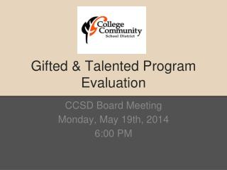 Gifted & Talented Program Evaluation