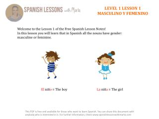 LEVEL 1 LESSON 1 MASCULINO  Y  FEMENINO