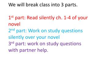 Study questions for students that missed class