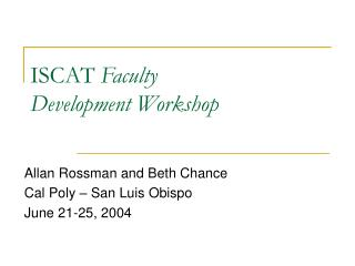 ISCAT Faculty  Development Workshop
