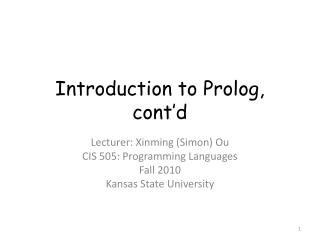Introduction to Prolog, cont'd