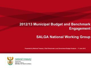 2012/13 Municipal Budget and Benchmark  Engagement SALGA National Working Group