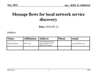 M essage flows for local network service discovery