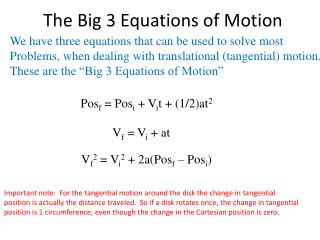 The Big 3 Equations of Motion
