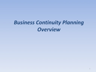 BUSINESS CONTINUITY PLANNING IN EDUCATION IT Role in Emergency Planning