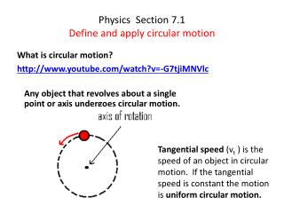 Physics  Section 7.1 Define and  a pply circular motion
