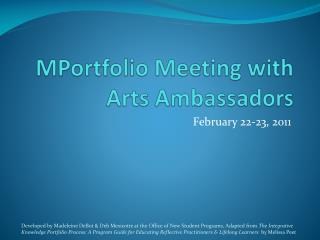 MPortfolio  Meeting with Arts Ambassadors
