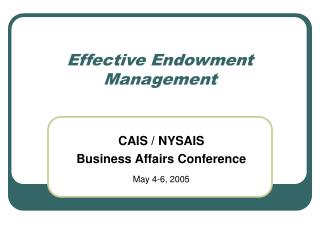 Effective Endowment Management