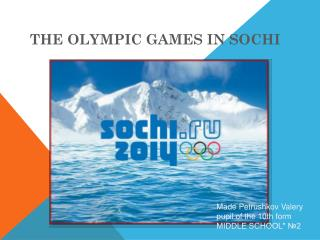 T he Olympic games in Sochi
