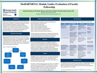MedEdPORTAL  Module Guides Evaluation of Faculty Fellowship