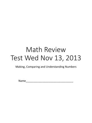 Math Review Test Wed Nov 13, 2013