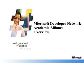 Microsoft Developer Network  Academic Alliance Overview