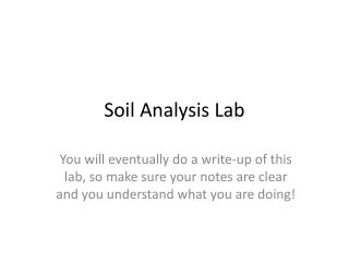 Soil Analysis Lab