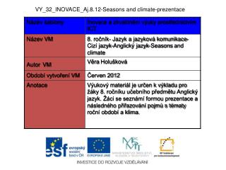 VY_32_INOVACE_Aj.8.12-Seasons and  climate -prezentace