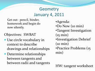 Geometry  January 4, 2011