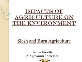 IMPACTS  of agriculture on the environment Slash and Burn Agriculture