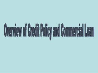 Overview of Credit Policy and Commercial Loan
