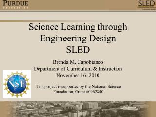 Science Learning through  Engineering Design SLED