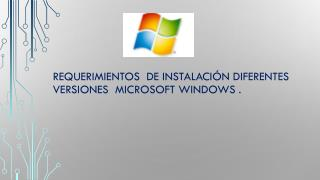 Requerimientos  de instalación diferentes versiones  Microsoft Windows .