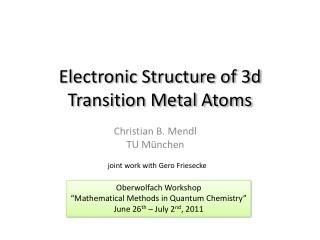 Electronic Structure of  3d  Transition Metal Atoms