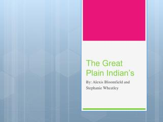 The Great Plain Indian's