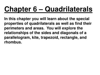 Chapter 6 �  Quadrilaterals