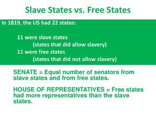 Slave States vs. Free States