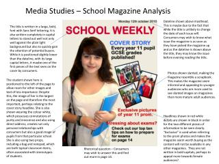 Media Studies – School Magazine Analysis
