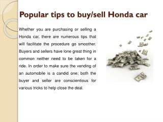 Populae tips to buy/sell Honda car