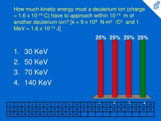 How much kinetic energy must a deuterium ion charge  1.6 x 10-19 C have to approach within 10-14  m of another deuterium