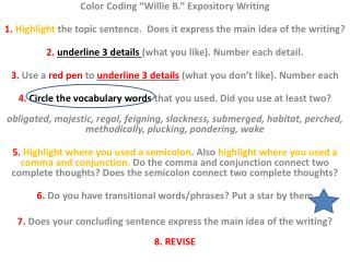 "Color Coding ""Willie B."" Expository  Writing"