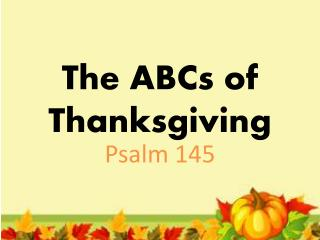 The ABCs of Thanksgiving