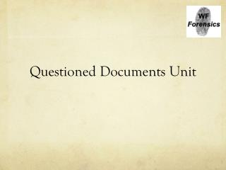 Questioned Documents Unit