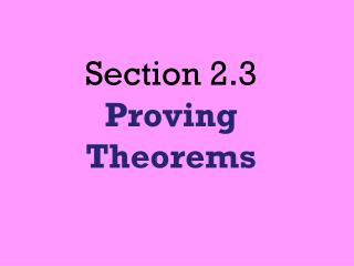 Section 2.3  Proving Theorems