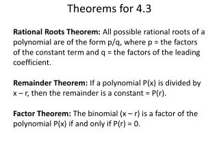 Theorems for 4.3