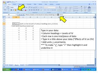 Type in your data:  Column headings = Levels of IV  Each row is one trial/piece of data