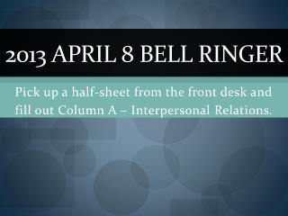 2013 April 8 Bell Ringer