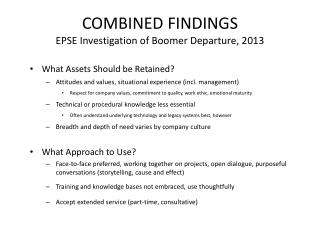 COMBINED  FINDINGS EPSE Investigation of Boomer Departure, 2013