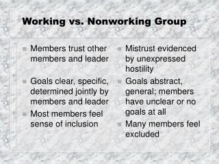 Working vs. Nonworking Group