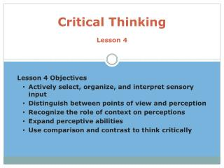 Critical Thinking Lesson 4