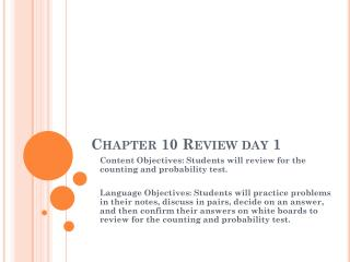 Chapter 10 Review day 1