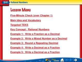 Lesson 1 Menu