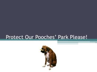 Protect Our Pooches' Park Please!