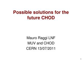 Possible solutions for the future CHOD