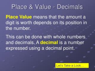 Place & Value - Decimals