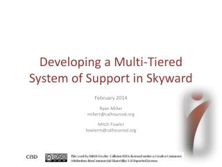 Developing a Multi-Tiered System of Support in Skyward